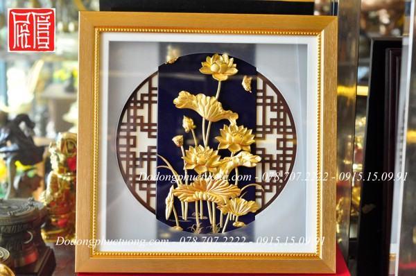 Tranh hoa sen 3D phong thủy dát vàng 9999