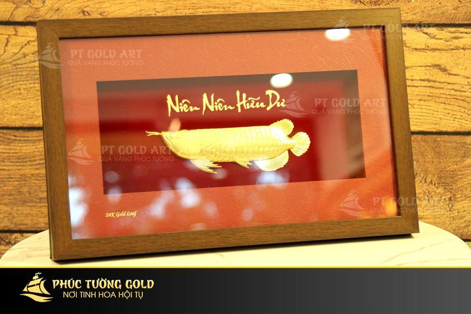 Tranh cá Rồng dát vàng 24k