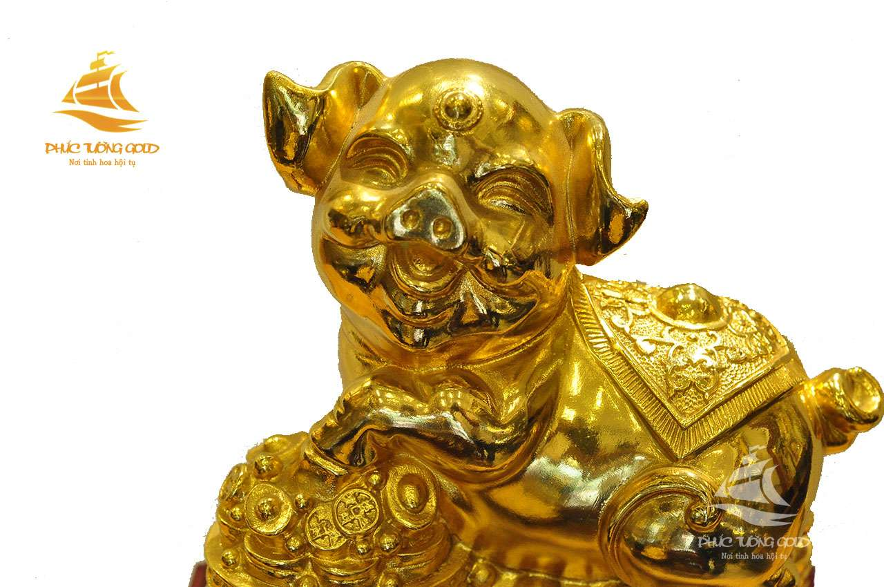 Tượng heo phong thủy mạ vàng 24k - Quà tặng mạ vàng 24k