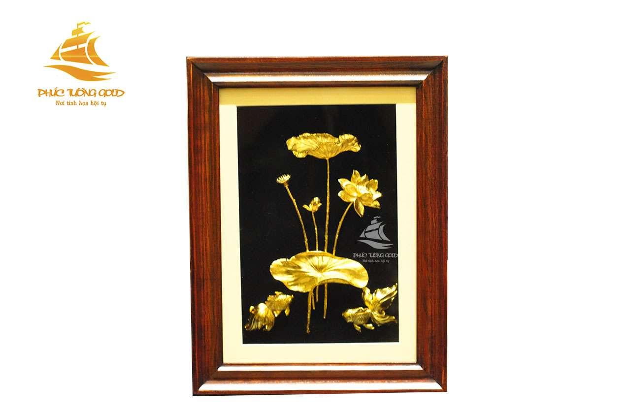 Tranh Cá Chép hoa Sen 3D mạ vàng 24k