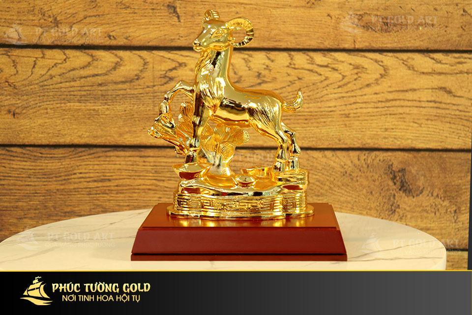 Tượng Dê phong thủy mạ vàng 24k - Quà tặng mạ vàng 24k