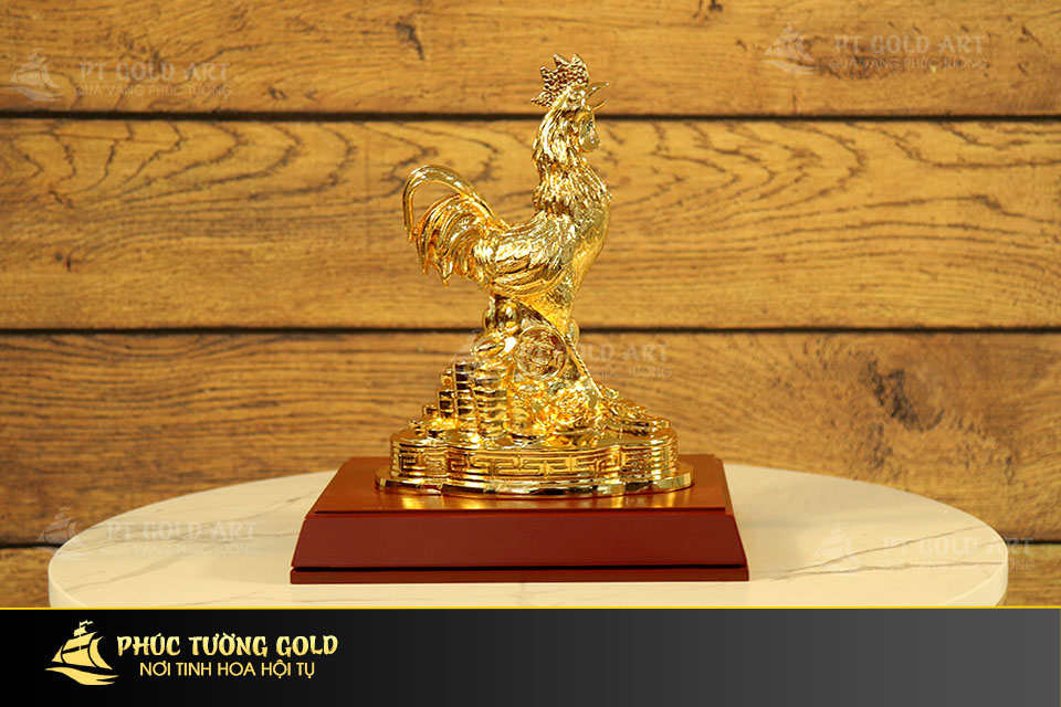 Tượng gà phong thủy mạ vàng 24k - Quà tặng mạ vàng 24k