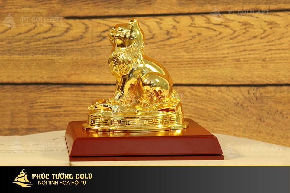 Tượng mèo phong thủy mạ vàng