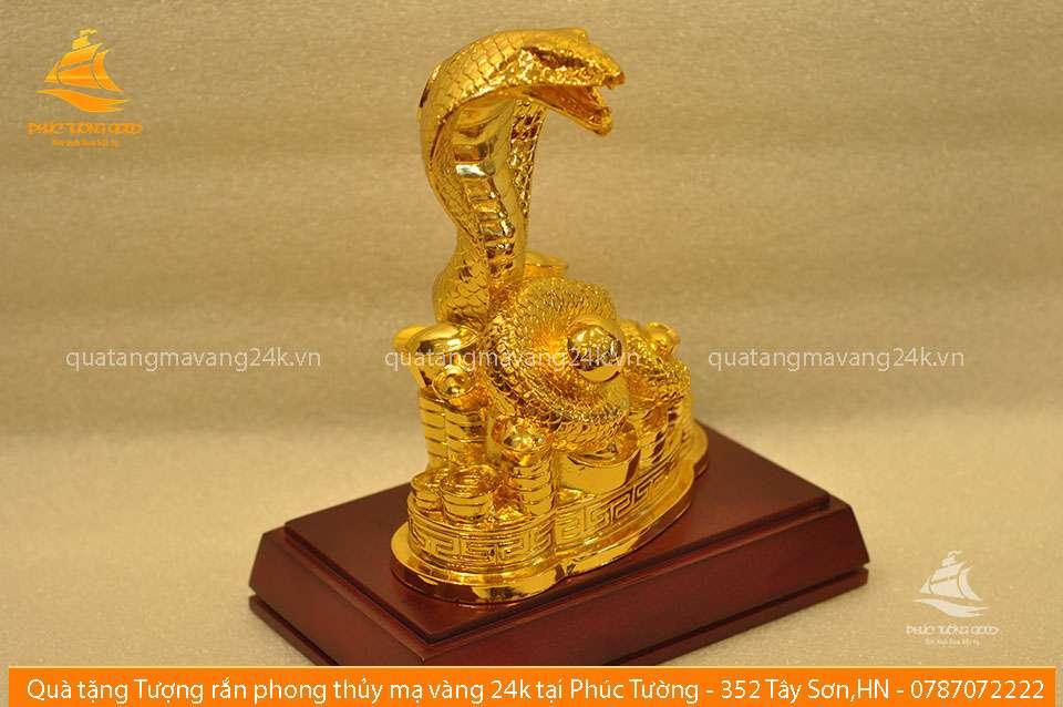 Tượng rắn phong thủy mạ vàng 24k - Quà tặng mạ vàng 24k
