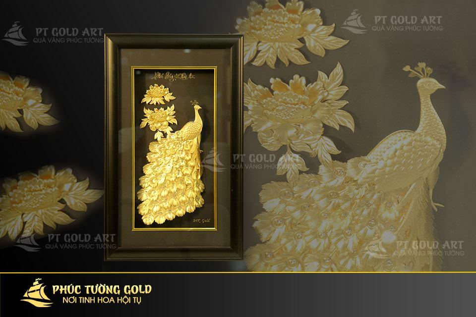 tranh phú quý khởi hà dát vàng 24k