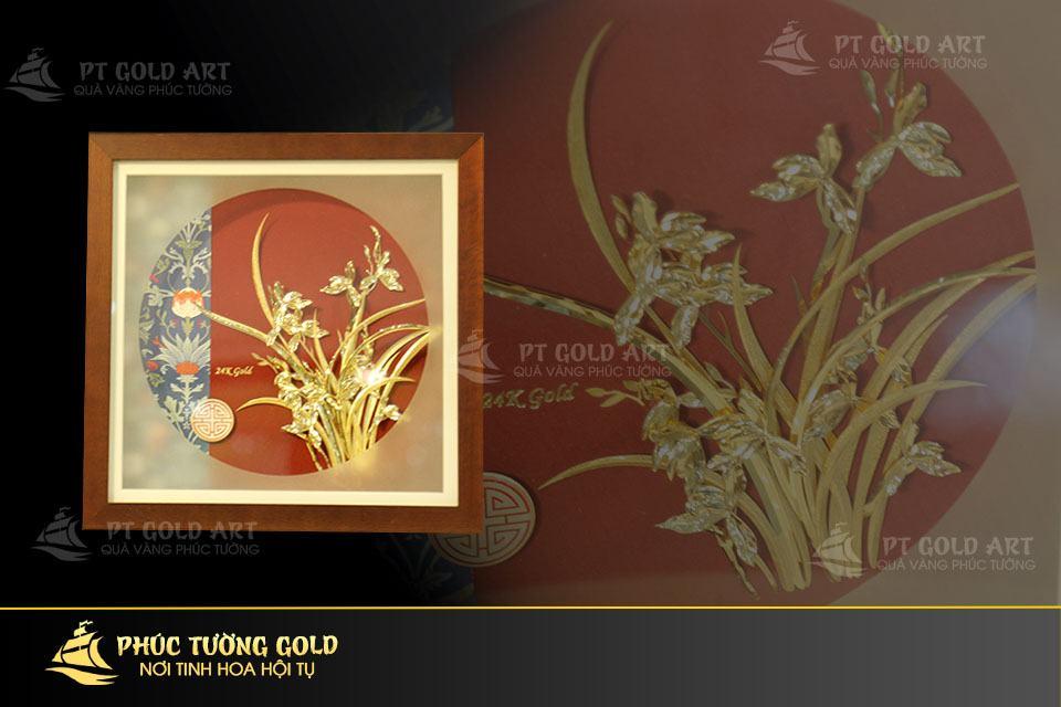 Tranh hoa địa lan dát vàng