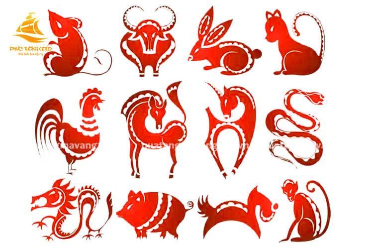 Con vật phong thủy theo tuổi - Bộ sưu tập tượng 12 con Giáp mạ vàng