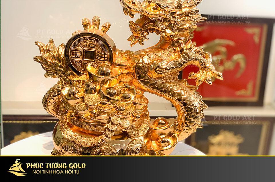 tượng rồng tài lộc mạ vàng
